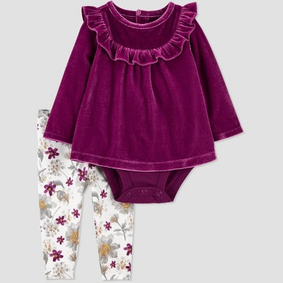 Baby Girls' 2pc Floral Top & Bottom Set - Just One You® made by carter's Wine Red Newborn