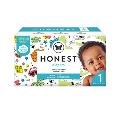 The Honest Company Good Vibes & L8ter Gator Disposable Diapers - Size 1 - 80ct