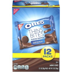 Oreo Thins Bites Fudge Dipped Sandwich Cookies - 12ct
