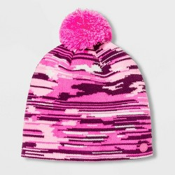 Girls' Pattern Knit Beanie with Pom - C9 Champion® Pink One Size