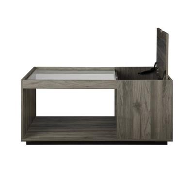 Cubist Storage Coffee Table with Glass Top - Saracina Home
