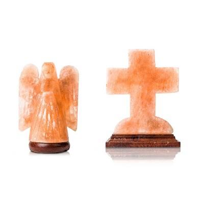 Salacia Himalayan Carved Angel Salt Lamp Light and Cross Lamp, Pink (2 Pack)