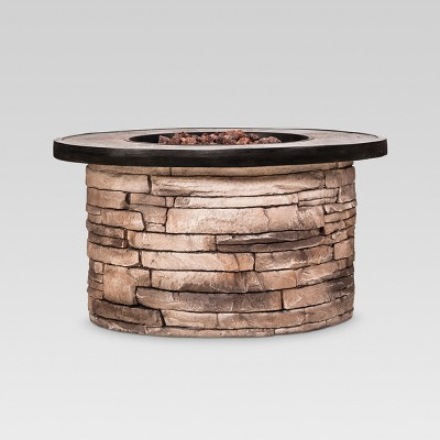 Chisholm 32  Round LP Fire Table - Natural Stone - Threshold™