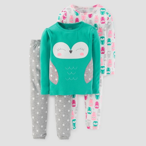 Baby Girls' 4pc Long Sleeve Owl/Polka Dots Pajama Set - Just One You™ Made by Carter's® Teal 9M - image 1 of 1