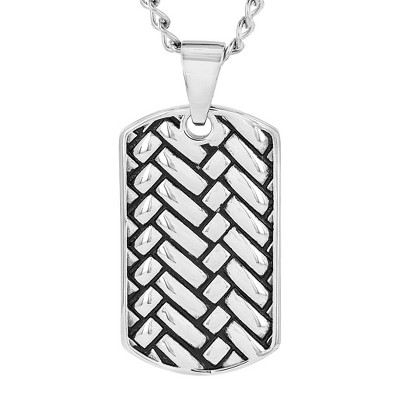 Crucible Men's Stainless Steel Woven Design Dog Tag Pendant