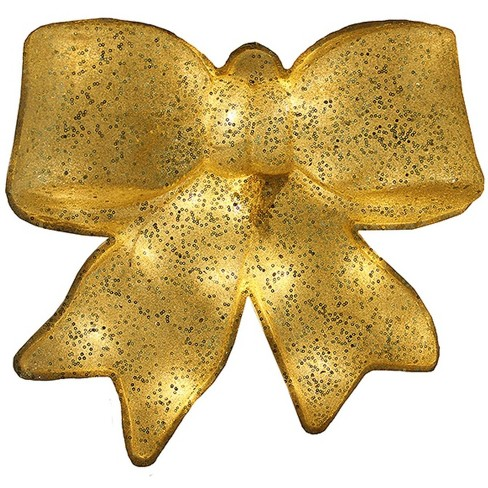 "PENN 15.5"" Gold Glittered Battery Operated Lighted LED Christmas Bow Decoration - image 1 of 1"