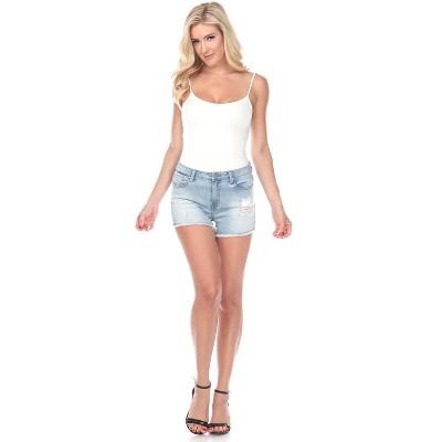 Women's Mid Ripped Stretch Denim Shorts - White Mark