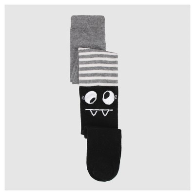 Baby Girls' Stripe Sweater Tights Opaque Mid Rise - Cat & Jack™ Black 12-24M