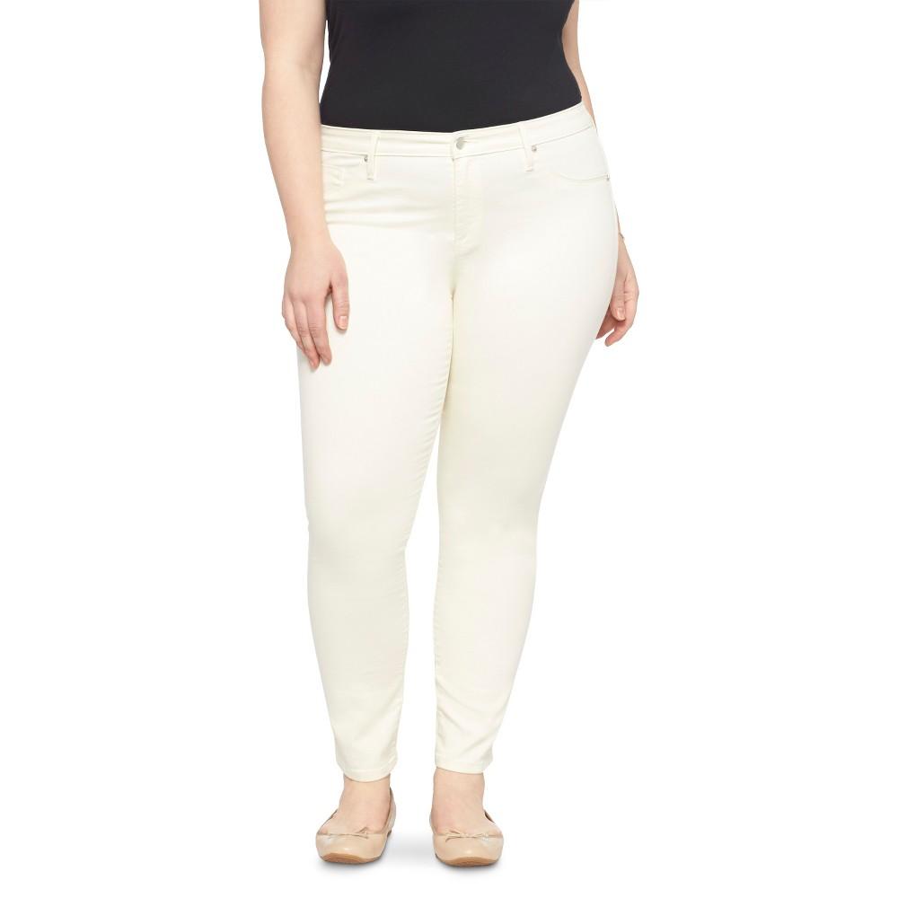 Women's Plus Size Cropped Jeans - Ava & Viv Off White 16W