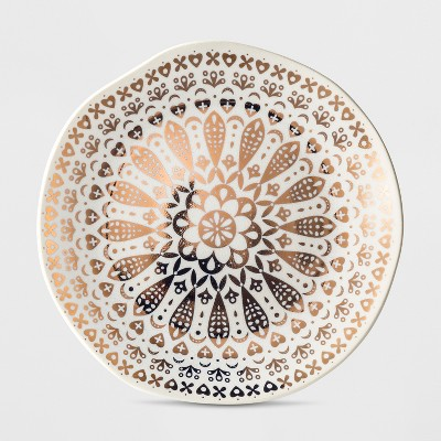 Cravings by Chrissy Teigen Stoneware Dessert Plate White/Gold Moroccan Decal
