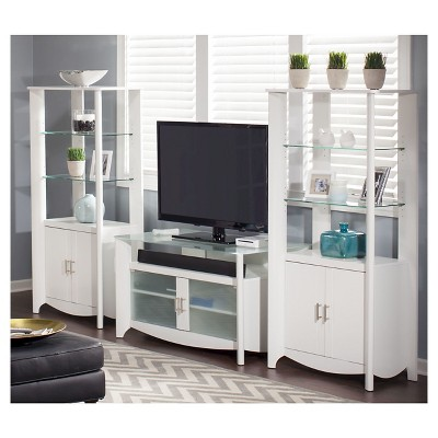 Aero TV Stand With Set Of 2 Tall Storage   Pure White   Bush Furniture