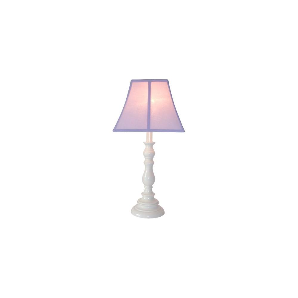 White Resin Table Lamp Purple