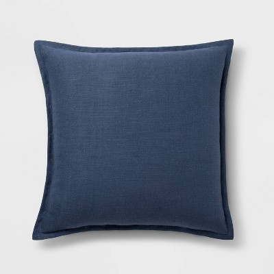 Washed Cotton/Linen Square Pillow Blue - Threshold™