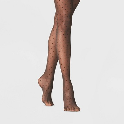 Women's Sheer Polka Dot Tights - A New Day™ Black
