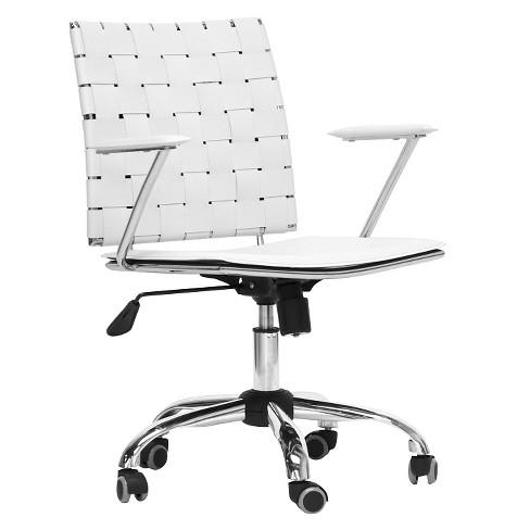 Vittoria Leather Modern Office Chair White - Baxton Studio - image 1 of 3