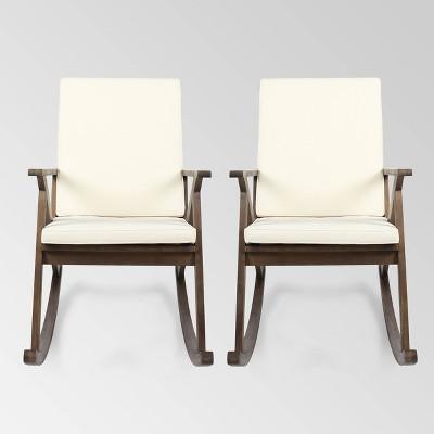 Gus 2pk Acacia Wood Rocking Chair - Dark Brown/Cream - Christopher Knight Home