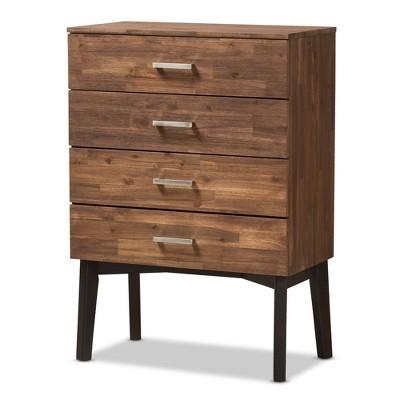 Selena Mid-Century Modern Wood 4 Drawer Chest Brown - Baxton Studio