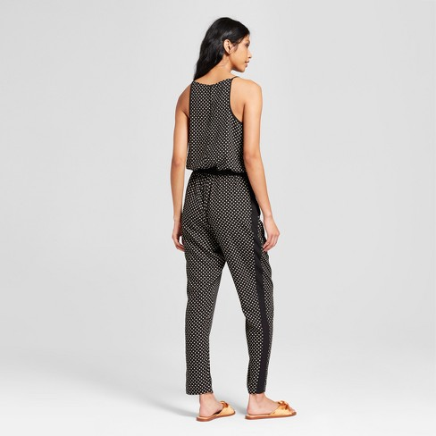 b6e4ca7b722 Women s Polka Dot Sleeveless Jumpsuit With Tuxedo Stripe - clair Black White  L   Target
