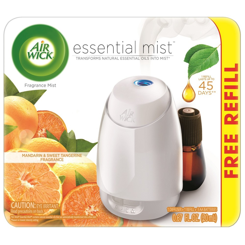 Image of Air Wick Mandarin & Sweet Tangerine Essential Mist With Free Refill - 0.67 fl oz, White