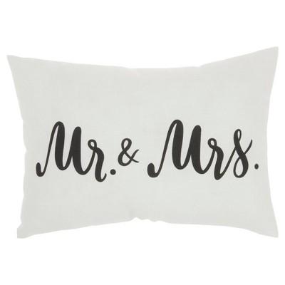 """14""""x20"""" Mr. & Mrs. Throw Pillow White - Kathy Ireland Home"""
