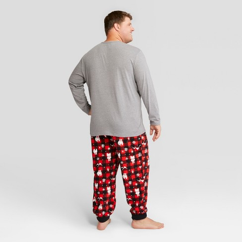 mens big tall holiday bear pajama set wondershop red 3xb target