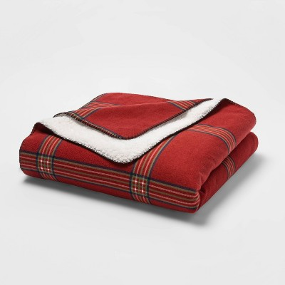 Full/Queen Flannel & Sherpa Bed Blanket - Threshold™