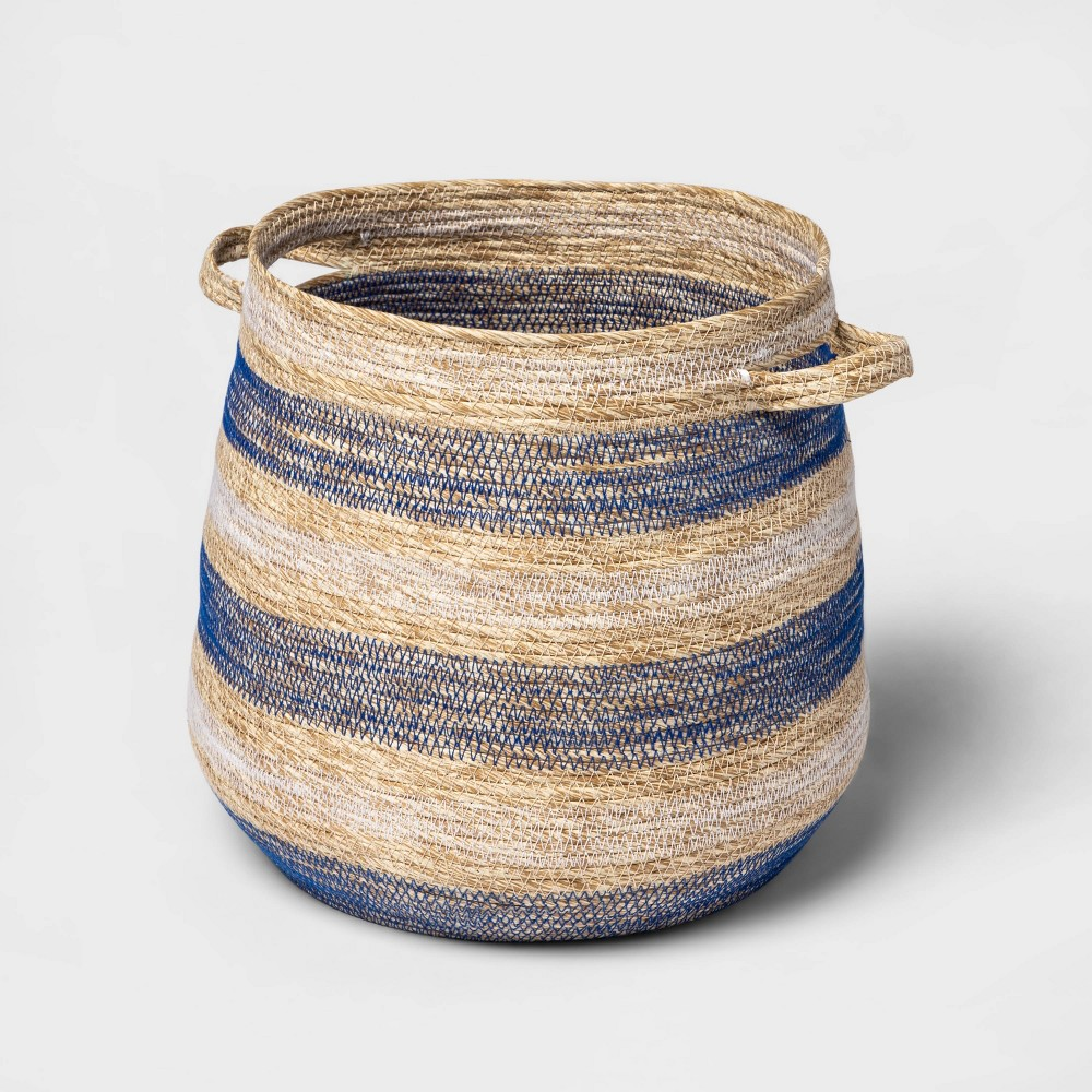 """Image of """"14"""""""" x 12"""""""" Striped Tapered Basket with Zig Zag Stitching Blue/Natural - Threshold"""""""