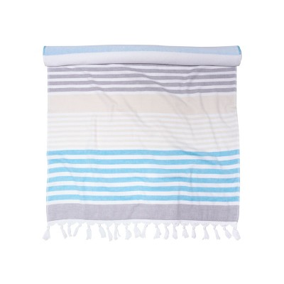 Meera Stripe Oversized Cotton Fouta Beach Towel by Blue Nile Mills