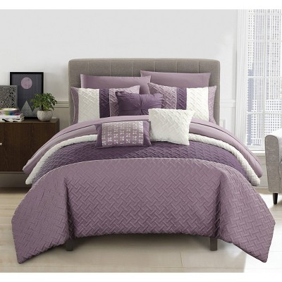 Queen 10pc Arza Bed In A Bag Comforter Set Plum Purple - Chic Home Design