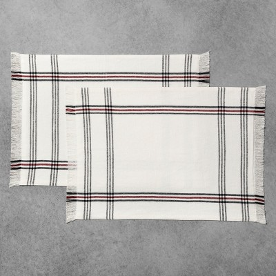 2pk Placemat White/Black/Red Stripe - Hearth & Hand™ with Magnolia