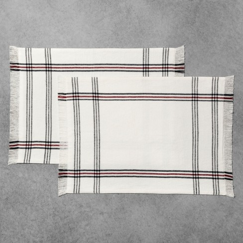 2pk Placemat White/Black/Red Stripe - Hearth & Hand™ with Magnolia - image 1 of 2