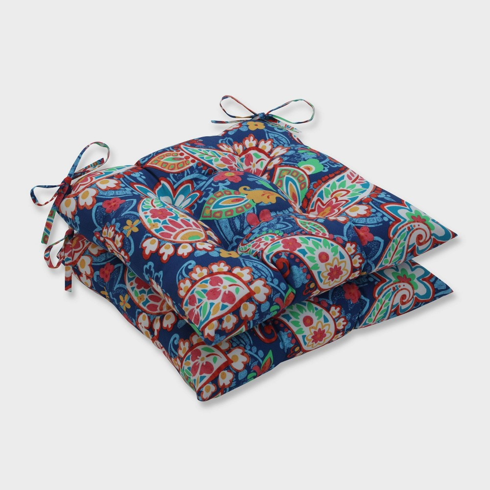 2pk Paisley Party Wrought Iron Outdoor Seat Cushions Blue Pillow Perfect