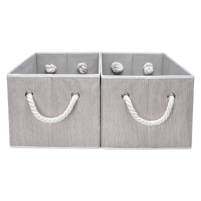 StorageWorks Set of 2 (34L) Rectangle Polyester Storage Bin with Cotton Rope Handles
