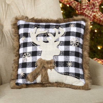 Lakeside Embroidered Black and White Plaid Reindeer Throw Pillow with Fur Trim