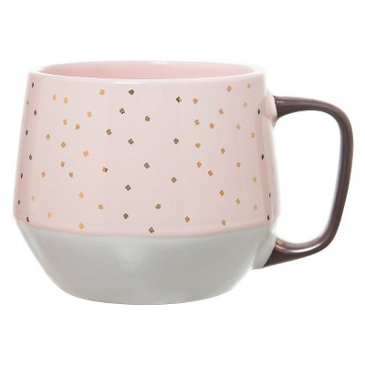 21oz Stoneware Mug Pink/White - Threshold™