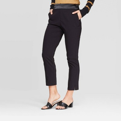 Women's Mid-Rise Cropped Skinny Satin Waist Pull-On Pants - Who What Wear™Black