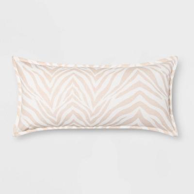 Zebra Printed Linen Oversize Lumbar Throw Pillow Cream - Threshold™