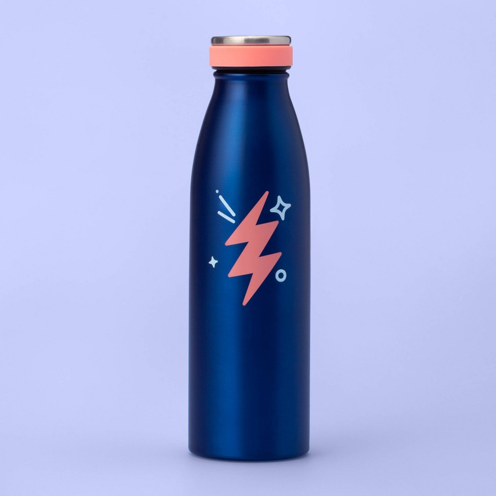 Image of 17oz Metal Water Bottle with Lightning Bolt - More Than Magic - Blue