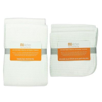Ultra Absorbent Microfiber Waffle Kitchen Towel And Dish Cloth Set - MU Kitchen