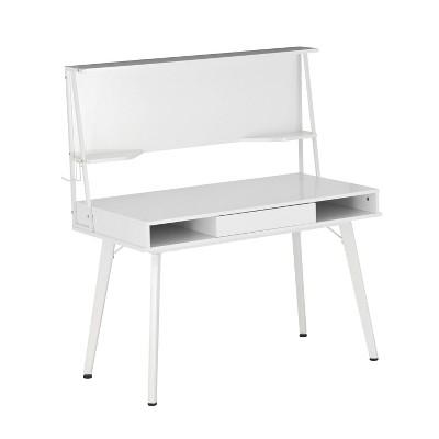 Computer Desk with Storage and Magnetic Dry Erase White Board White - Techni Mobili