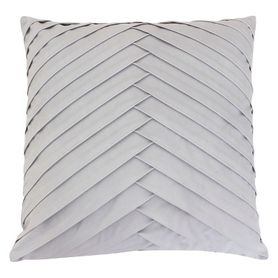 James Pleated Velvet Oversize Square Throw Pillow Gray - Decor Therapy