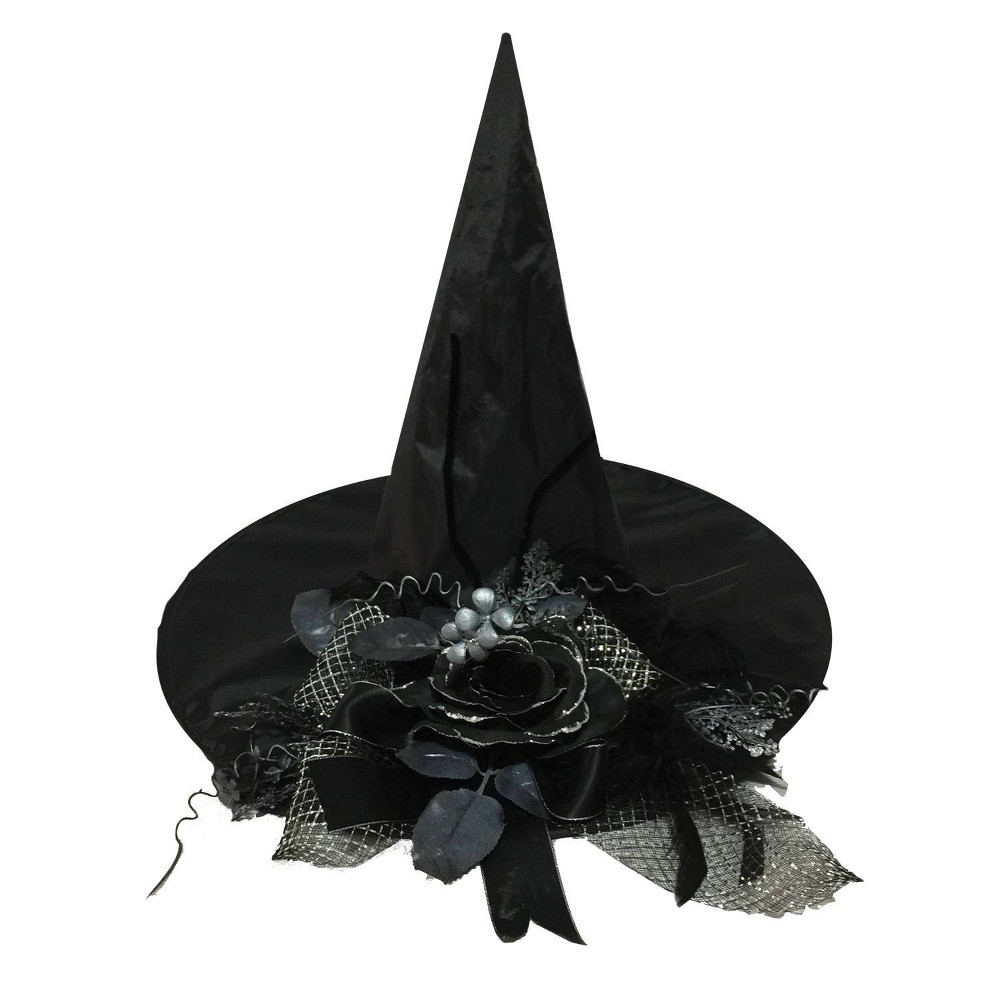 "Image of ""18 """"Halloween Witch Hat with Black Flower"""