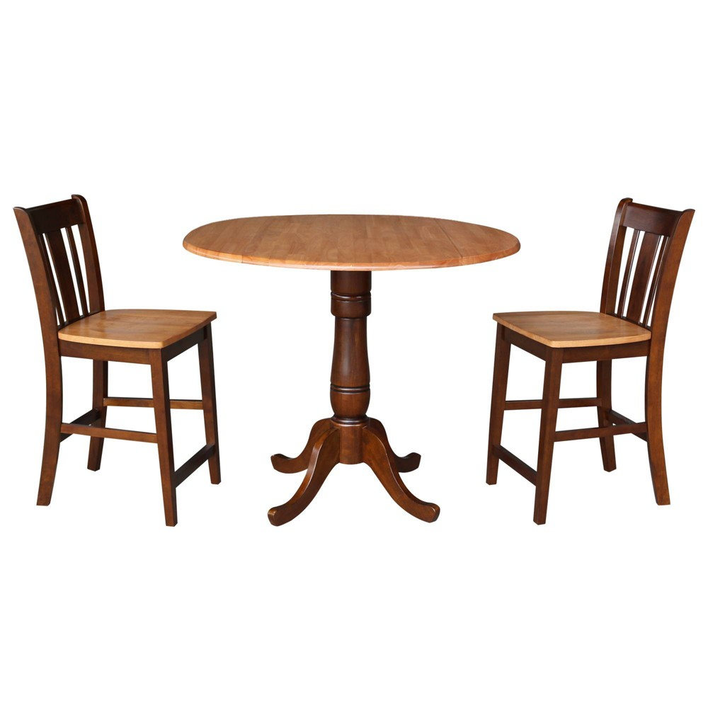 "Image of ""35.5"""" Round Pedestal Gathering Height Table with 2 Counter Height Stools Cinnamon/Espresso - International Concepts"""
