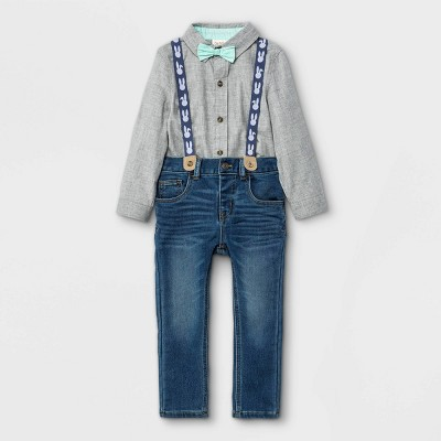 Toddler Boys' 3pc Easter Woven Long Sleeve Shirt & Denim Suspender Set with Bow Tie - Cat & Jack™ Heather Gray