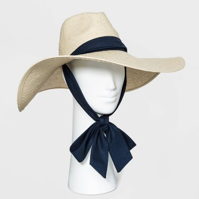 Women's Wide Brim Straw Fedora Hat with Ties - A New Day™