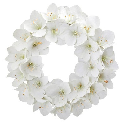 "24"" Artificial Amaryllis Wreath White - Nearly Natural"