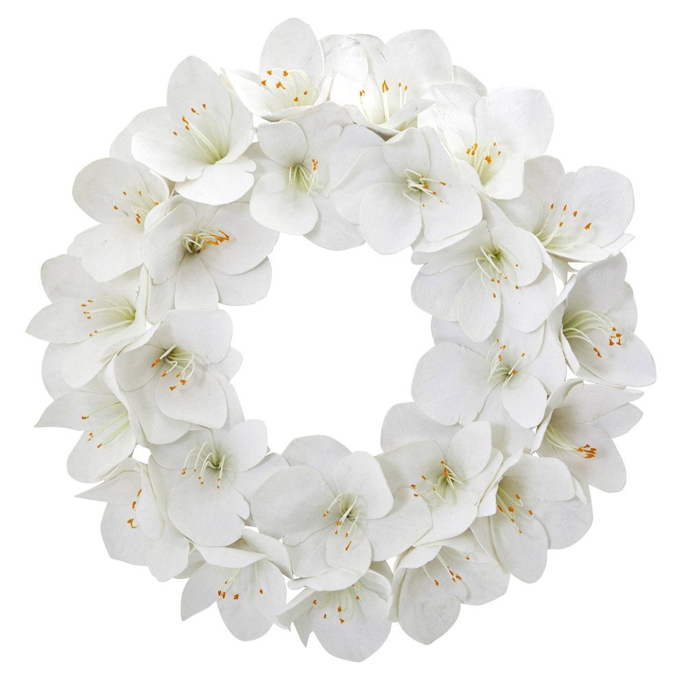 "Image of ""24"""" Artificial Amaryllis Wreath White - Nearly Natural"""