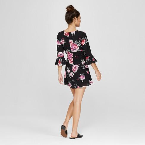 Women s Floral Print Short Sleeve Ruffle Shift Dress - Le Kate (Juniors )  Black b3f7356869