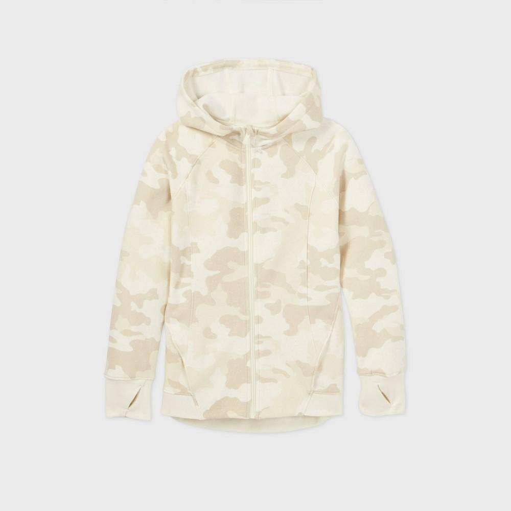 Girls 39 Fleece Full Zip Hoodie Sweatshirt All In Motion 8482 Beige Xl