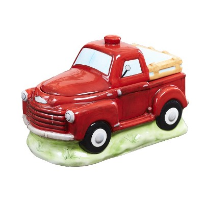 Lakeside Retro Style Red Truck Pet Treat Jar - Earthenware Food Container